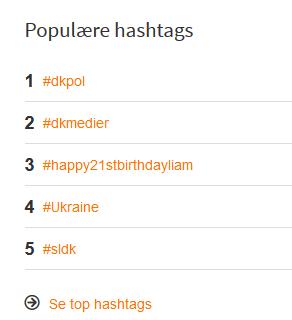 Top DK hashtags for fredag d. 29/8 2014